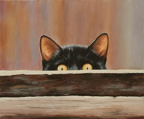 Un chat se cache à la façon des bars speakeasy