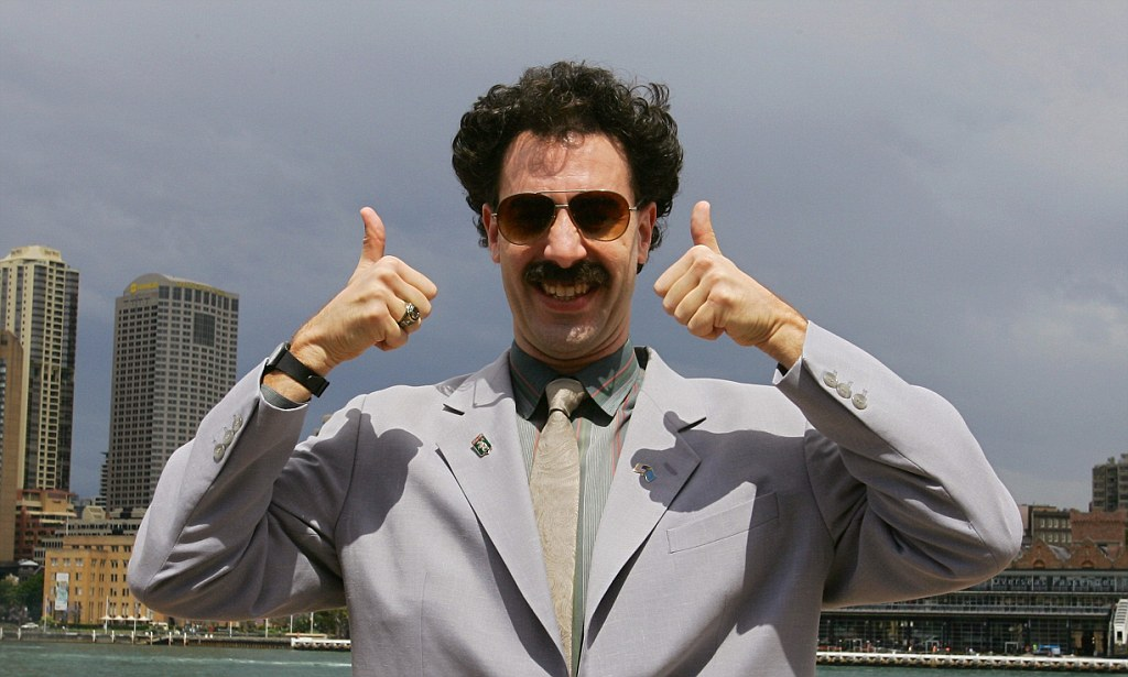 British actor Sacha Baron Cohen, acting as Kazakh TV reporter known as 'Borat', poses for photographers in Sydney